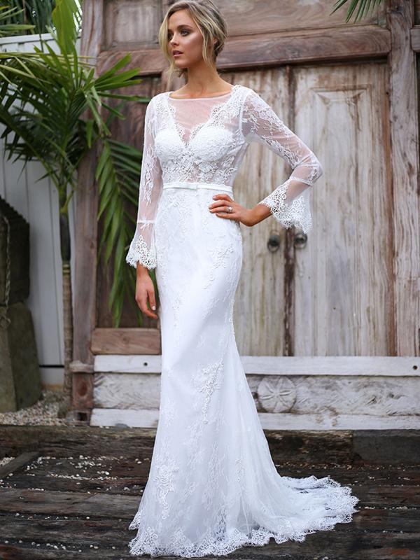 SHAY 1 long bell sleeve sheer fitted lace wedding dress Madi Lane Luv Bridal Melbourne Australia