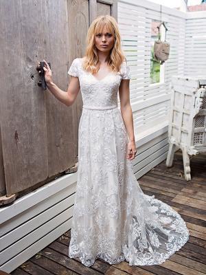 SHELBY 1 cap sleeve defined waist lace wedding dress Madi Lane Luv Bridal Brisbane Australia