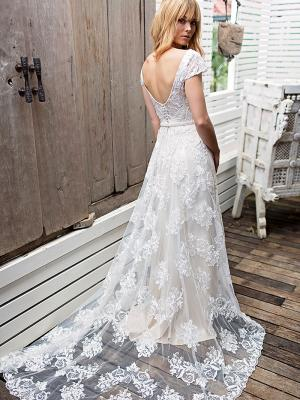 SHELBY 2 scoop back cap sleeve lace wedding dress Madi Lane Luv Bridal Brisbane Australia