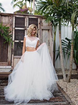 SIENNA 1 high illusion neckline wedding two piece Madi Lane Luv Bridal Gold Coast Australia