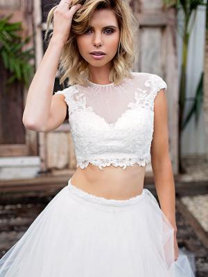 SIENNA 2 sheer lace illusion two piece wedding dress Madi Lane Luv Bridal Adelaide Australia