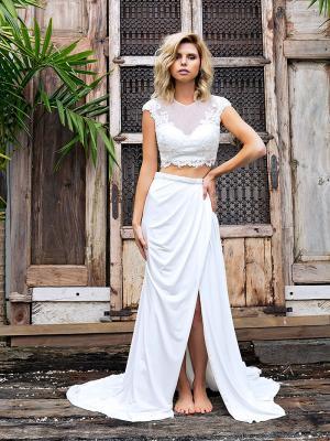 SIENNA 4 sheer two piece wedding dress in tulle lace and crepe Madi Lane Luv Bridal Brisbane Australia