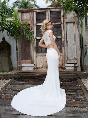 SIENNA 5 sheer lace bodice crepe skirt two piece wedding dress Madi Lane Luv Bridal Sunshine Coast Australia