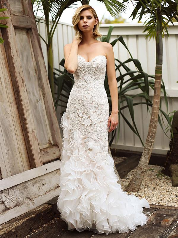 SKYLAR 1 lace motif mermaid wedding dress with ruffle train Madi Lane Luv Bridal Melbourne Australia