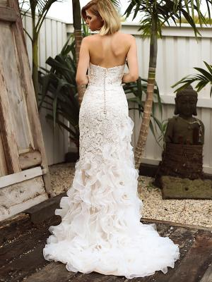 SKYLAR 2 strapless button back lace ruffle mermaid wedding dress Madi Lane Luv Bridal Gold Coast Australia