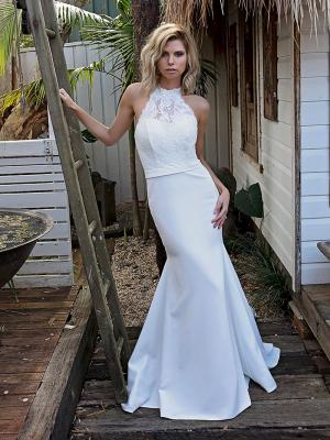 SOFI 1 high halter neck fitted lace wedding dress Madi Lane Luv Bridal Australia