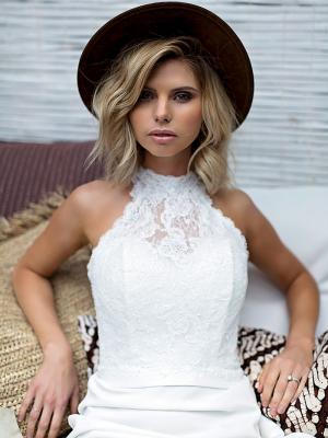 SOFI 2 lace bodice high halter neck wedding dress Madi Lane Luv Bridal Sunshine Coast Australia