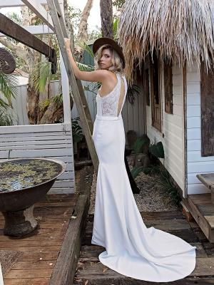 SOFI 4 lace long keyhole back wedding dress with crepe skirt and train Madi Lane Luv Bridal Sunshine Coast Australia