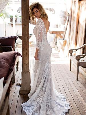 SOPHIA 1 long sleeve sheer lace fitted wedding dress Madi Lane Luv Bridal Melbourne Australia