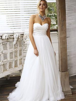 STACEY 1 ruched satin bodice ballgown wedding dress with tulle skirt Madi Lane Luv Bridal Brisbane Australia