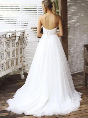 STACEY 2 low lace up back strapless wedding dress Madi Lane Luv Bridal Brisbane Australia