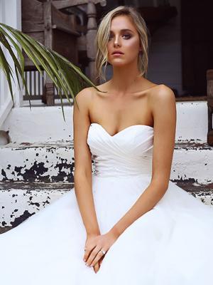STACEY 3 satin ruched bodice wedding dress with tulle skirt Madi Lane Luv Bridal Brisbane Australia