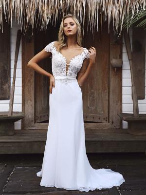 STAR 1 sheer lace illision bodice fitted crepe skirt wedding dress Madi Lane Luv Bridal Sydney Australia