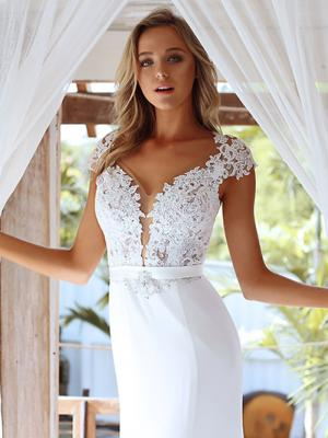 STAR 2 lace and crepe fitted illusion wedding dress Madi Lane Luv Bridal Gold Coast Australia