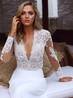 STELLA 1 two piece sheer lace top crepe fitted skirt wedding dress Madi Lane Luv Bridal Gold Coast Australia