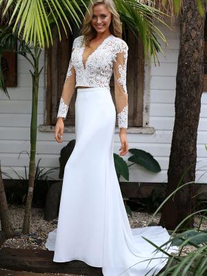 STELLA 2 sheer lace and crepe illusion two piece wedding dress Madi Lane Luv Bridal Gold Coast Australia