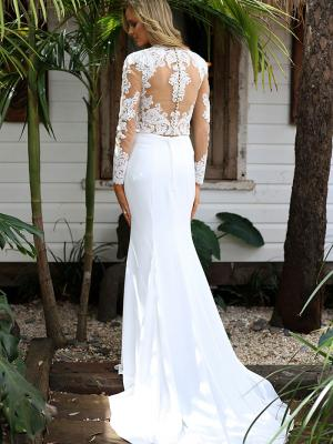 STELLA 3 illusion lace and button back tow piece wedding dress with tulle skirt Madi Lane Luv Bridal Perth Australia