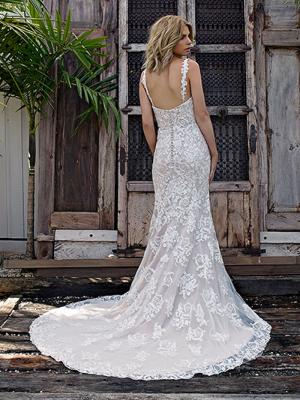 STORM 3 low back straight lace trimmed train wedding dress Madi Lane Luv Bridal Gold Coast Australia