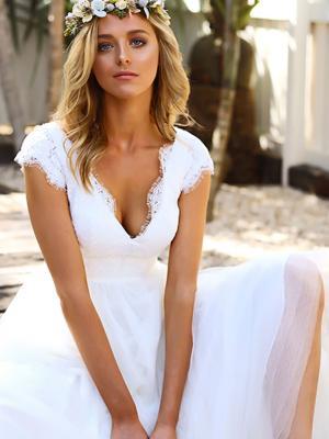 SURI 2 lace and tulle short tea length v neck wedding dress Madi Lane Luv Bridal Gold Coast Australia