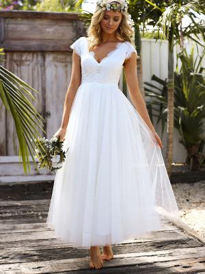 SURI 1 lace bodice tulle skirt tea length short wedding dress Madi Lane Luv Bridal Adelaide Australia