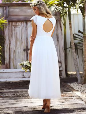 SURI 3 lace and tulle keyhole back tea length wedding dress Madi Lane Sunshine Coast Australia