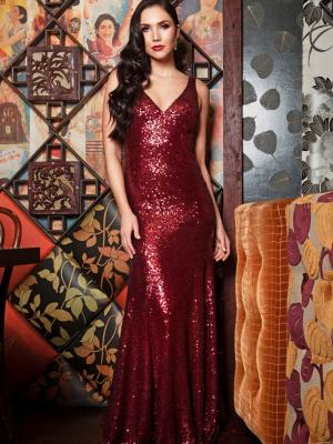 Luv bridal formal collection sequin red formal dress mermaid train