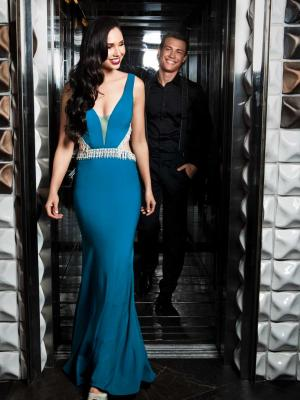 Luv bridal formal collection low v-neck plunge neckline teal formal dress strapless