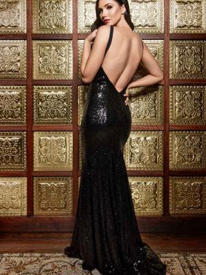 Luv bridal formal collection sequin black formal dress mermaid train low back