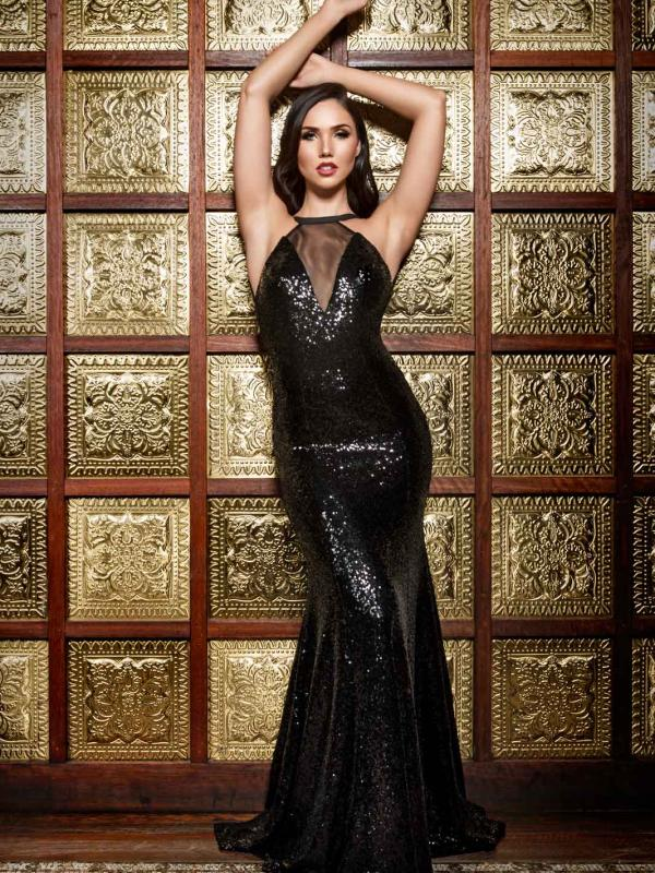 Luv bridal formal collection sequin black formal dress mermaid train