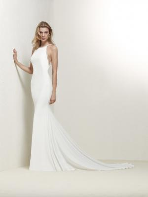 DRABEA straight crepe low back wedding dress luv bridal