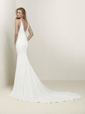 DRABEA train straight crepe low back wedding dress luv bridal
