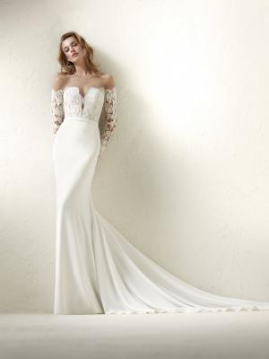DRACMA Pronovias Luv Bridal Australia wedding dress crepe lace off shoulder long sleeve