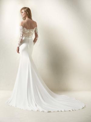 DRACMA back Pronovias Luv Bridal Australia wedding dress crepe lace off shoulder long sleeve