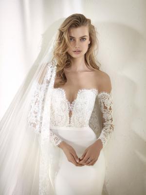 DRACMA glam Pronovias Luv Bridal Australia wedding dress crepe lace off shoulder long sleeve