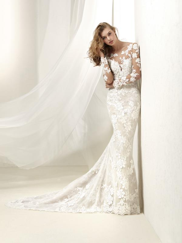 DRAFNE Pronovias Luv Bridal Australia full lace wedding dress sheer long sleeves fit and flare trumpet mermaid