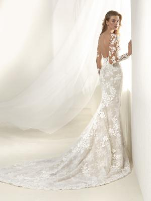 DRAFNE back Pronovias Luv Bridal Australia full lace wedding dress sheer long sleeves fit and flare trumpet mermaid