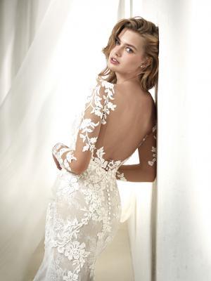 DRAFNE glam Pronovias Luv Bridal Australia full lace wedding dress sheer long sleeves fit and flare trumpet mermaid