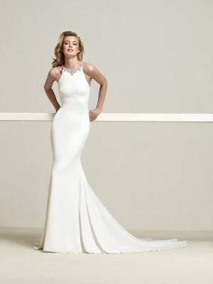 DREBA Pronovias Luv Bridal Australia crepe diamante embellished detailed straight fishtail wedding dress