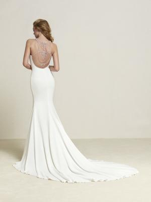 DREBA low illusion back Pronovias Luv Bridal Australia crepe diamante embellished detailed straight fishtail wedding dress