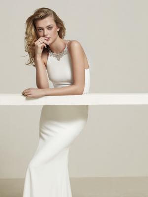 DREBA glam Pronovias Luv Bridal Australia crepe diamante embellished detailed straight fishtail wedding dress