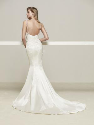 DRENS low back Pronovias Luv Bridal Australia stretch lace satin silk fitted wedding dress