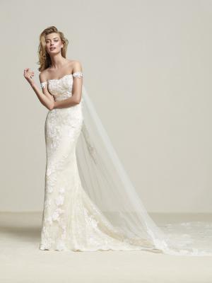 DRIA Pronovias Luv Bridal Australia off shoulder straight lace wedding dress