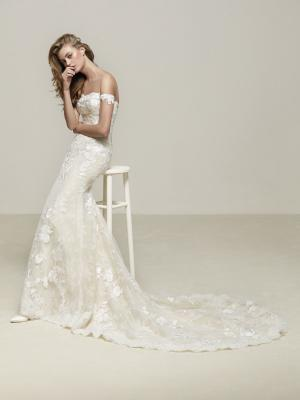 DRIA glam Pronovias Luv Bridal Australia off shoulder straight lace wedding dress