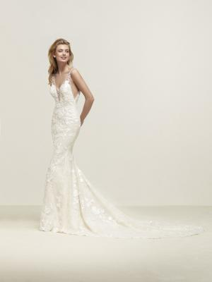 DRIFT Pronovias Luv Bridal Australia plunge neckline low back lace wedding dress