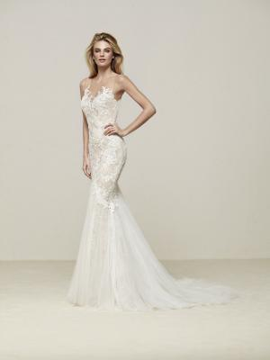 DRINAM Pronovias Luv Bridal Australia illusion neck line fitted lace mermaid wedding dress