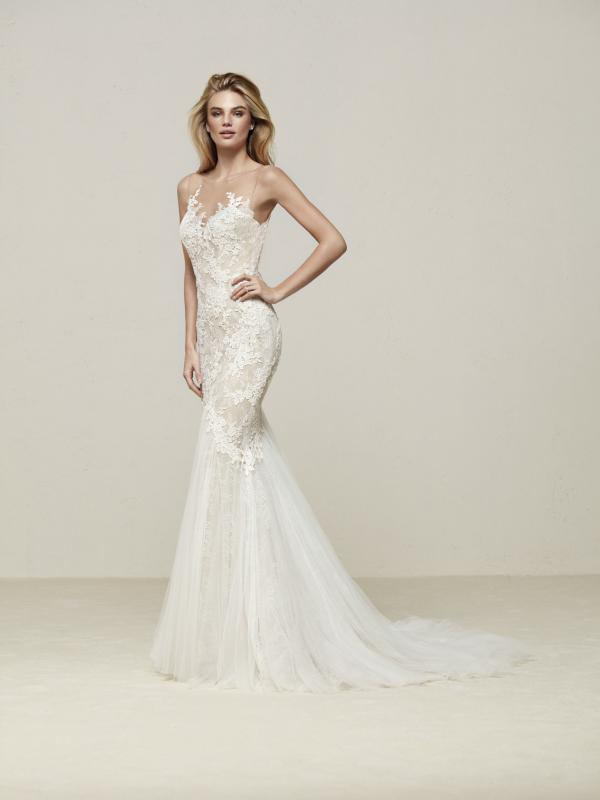 DRINAM Pronovias Luv Bridal Australia illusion neck line fitted lace mermaid wedding dress