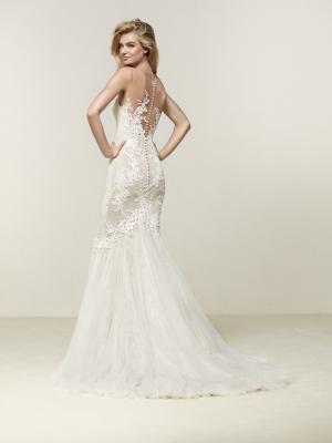 DRINAM back Pronovias Luv Bridal Australia illusion neck line fitted lace mermaid wedding dress