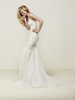 DRINAM glam Pronovias Luv Bridal Australia illusion neck line fitted lace mermaid wedding dress