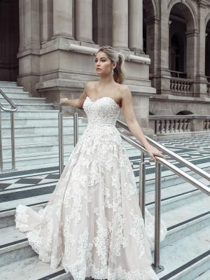 mia solano claire wedding dress australian real bride strapless ballgown lace up corset back lace