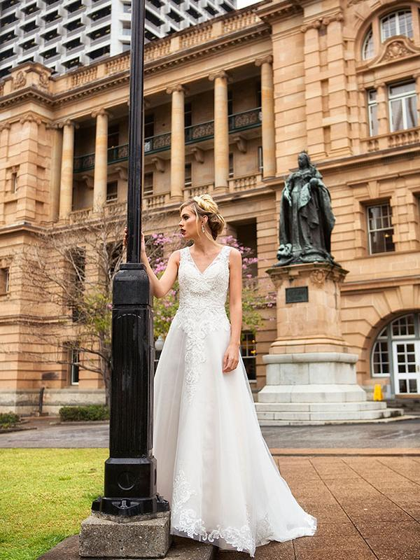 DELSIE MIA SOLANO ALINE VNECK LOW BACK WEDDING DRESS LUV BRIDAL MELBOURNE AUSTRALIA